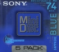 Mini-disc COLOR COLLECTION SAPPHIRE BLUE for 74 minutes 5 pieces pack [5MDW74KL] for Sony recording