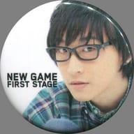 寺島拓篤(背景白/顔アップ/文字左) 缶バッジ 「TAKUMA TERASHIMA NEW GAME -FIRST STAGE-」