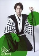"Wada Takuma (Shimizu Kazumasa) / Whole body · Sitting · Background white. Green · Character shot / Stage ""Jesus ・ Christ · Samurai star ~ Please in the hall! ~"" Bromide"