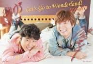 KAmiYU/神谷浩史・入野自由/横型・全身・衣装ピンク水色・うつ伏せ・印刷サイン入り/CD「Road to Wonderland」特典ブロマイド
